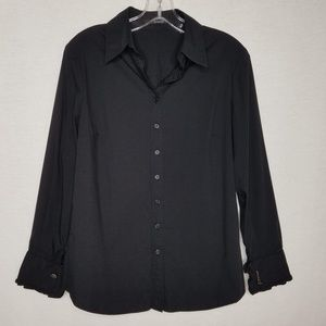 Tahari Button Down Shirt Black Ruffled Sleeve Hem